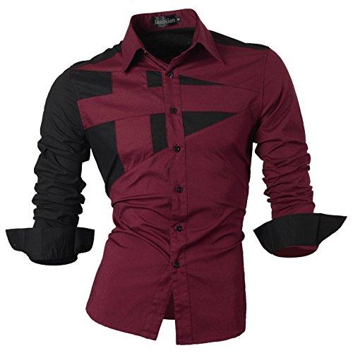 Jeansian Men's Slim-Fit-Hemd, Langarm - 8397_WineRed