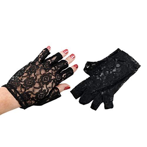 1980 Frauen Kostüm - DOLDOA Sommerhandschuhe,Frauen schwarzer Spitze Fingerlose Handschuhe Madonna Ladies Lady 1980 Kostüm (Schwarz)