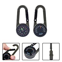 YCEOT 1Pc Multifunctional Hiking Metal Carabiner Mini Compass Thermometer Keychain Men Outdoor Key Holder