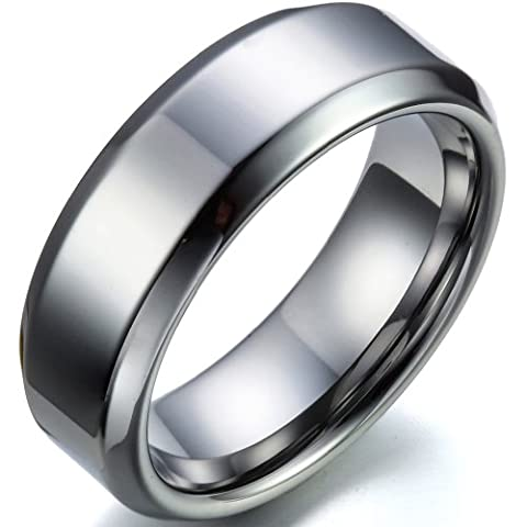 Tungsten Love Matching Comfort Fit Polished Shiny Beveled-Edge Tungsten Carbide Rings 8mm (Size L - Z+3 Selectable) His or 6mm (Size H -V Selectable) Hers Set Aniversary/Engagement/Wedding Bands (Men's Size U)