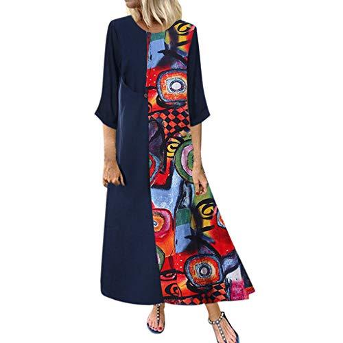 friendGG❤Frauen Vintage Print Floral Patch Kleid ÄRmellos Oansatz Lose Maxi Damen Mode Freizeit Mini Party Rock Sommer Kleider Kurzarm Sommerkleid ... - Cup-halskette Tin