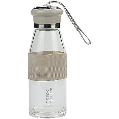 Mi favorita de los amantes Botella de agua portátiles (450 ml) de vidrio taza de agua opción para los deportes actividades al aire libre (Gris oscuro)