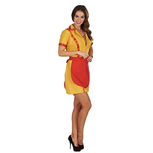 Diner Girl Kostüm Max und Caroline Kleid mit Schürze zur Serie 2 Broke Girls Damen rot gelb - 36/38