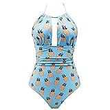 Fenverk Damen Backless Bademode Bikini One Piece Push-up Beachwear Badeanzüge(Blau,S)