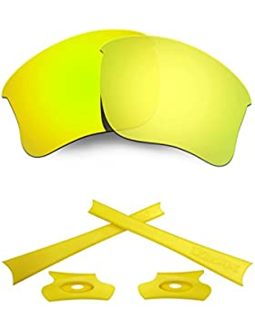 HKUCO For Oakley Flak Jacket XLJ 24K Gold Polarized Replacement Lenses And Yellow Earsocks Rubber Kit