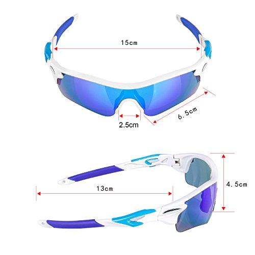 Navestar Radsportbrille Sport Sonnenbrille für Herren und Damen, Fahrradbrille mit 5 Austauschbare Lens UV400 Sportbrille für Radfahren, Fahren, Motorradfahren, Klettern, Angeln, Wandern Weiß-Blau - 6