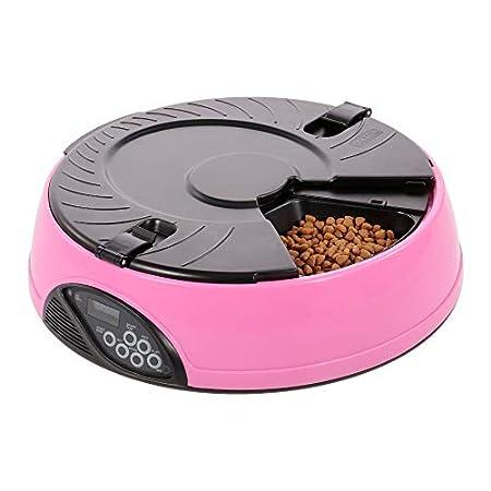 Automatischer Tierfuttertimer Hundefutterspender Wasserfutterschüssel für Katzen und Hunde 6 Mahlzeit Voice Recorder