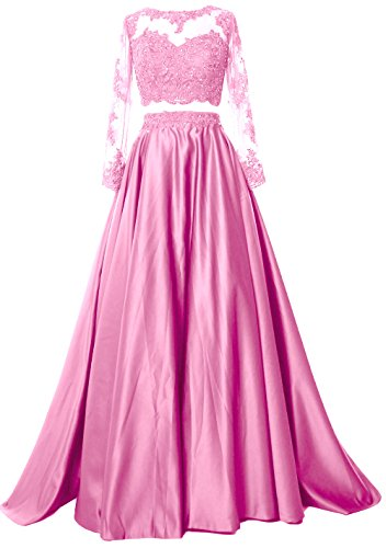 MACloth Women 2 Piece Long Sleeve Prom Dress 2017 Lace Satin Formal Evening Gown Rosa