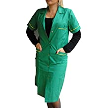 Fratelliditalia - Camisa de mujer, bata de maestra, de algodón, mujer, Verde