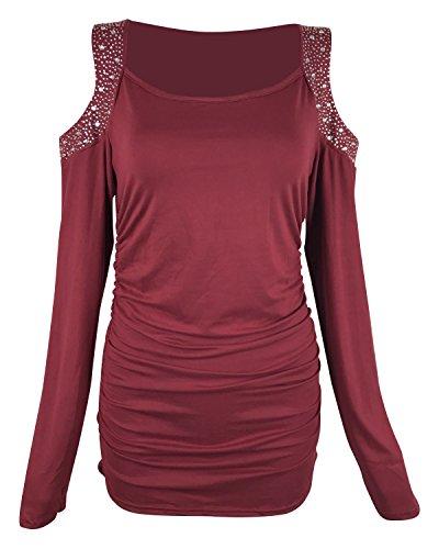 LAMEZI LANISEN Damen Langarm Rundhals Einfarbig Paillette Shirt Blusen Oberteil S-2XL Weinrot