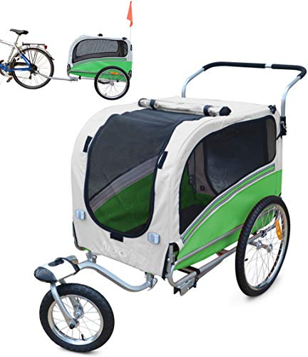 POLIRONESHOP ARGO rimorchio e passeggino per trasporto cani cane animali carrello carrellino trasportino rimorchi da bici bicicletta jogger carrozzina dog portacani portacane porta (VERDE, LARGE)