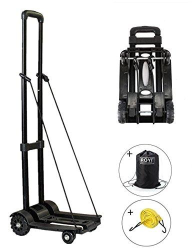 Carretilla de mano plegable, ROYI Carritos para equipaje con 4 ruedas Carga máxima 70 kg/155 lbs - Después de plegar se puede poner en la mochila - Negro