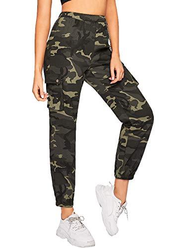 SOLY HUX Damen Sport Sweatshose Camouflage Hosen mit Seiten Taschen Kette Laufhose Bunt Capris Jogger Pants Farbe #2 XL