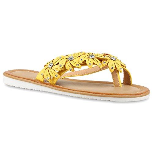 Damen Sandalen Strass Zehentrenner Beach Schuhe Gelb Strass