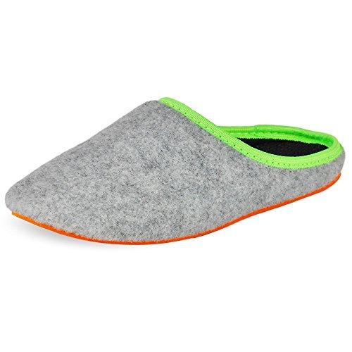 PantOUF Chaussons Doullens incroyablement confortables. Les chaussons sont souples, légers, doux, extrêmement silencieux Gris claire/orange