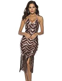 a542b990d5f0 Haobing Donne Senza Maniche Abiti con Paillettes e Frangia Latino Costumi V  Collo Vestito