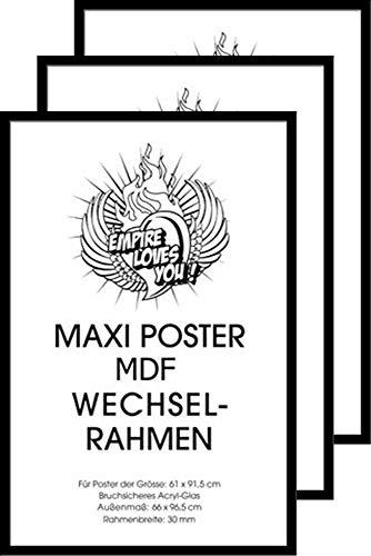 Empire Interactive Shinsuke Lot de 3Cadres pour Grands Posters 61x 91.5cm CadrePanneau MDF Verni 30mm Noir
