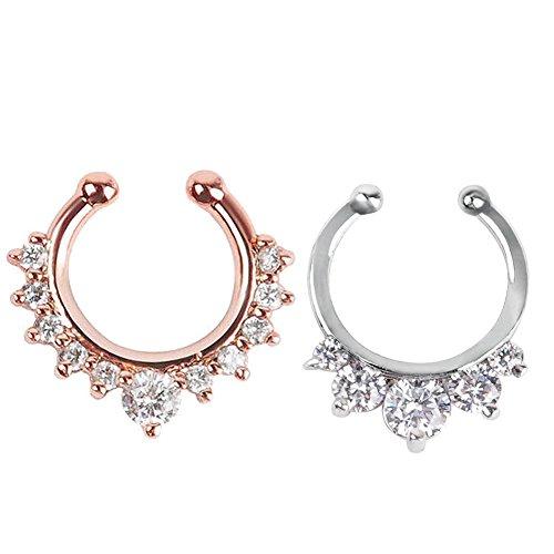 2 Stück Fake Nase Ring Septum Piercing Schmuck für Frauen nicht Piercing Clip auf Körper Piercing Schmuck (Silber + Rose Gold)