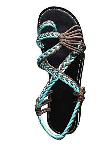 Sandalen Damen Frauen Flip Flops Kreuzband Geflochtene Sandalen Roman Schuhe Sommer Woven Strap Mode Strand Hausschuhe Flacher Anti-Rutsch