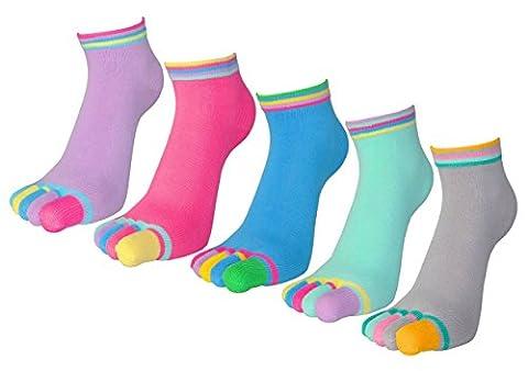 FULIER 5 Pack Womens Pilates Low Cut Five Finger Toe Socks Cotton Rich Liner Ankle Sock For Girls