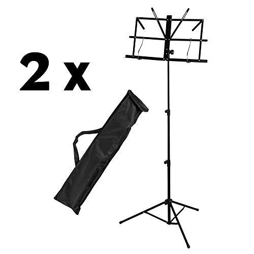 CASCHA Notenständer 2er Set, Notenhalter aus Metall mit Tragetasche, Foldable Music Stand, zusammenklappbar, höhenverstellbar, schwarz