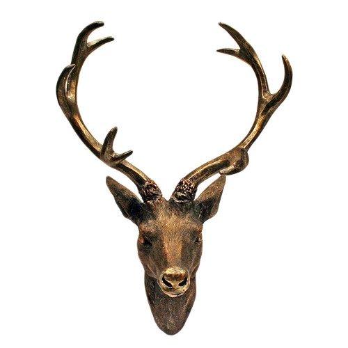 LINDER EXCLUSIV Hirschgeweih Hirschkopf Geweih 10-Ender in Bronze-Optik 15 x 30 cm, Figur Skulptur Deko