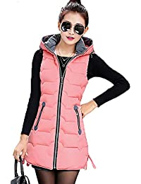 6d8b4c27f8ae6 Janlyy Women Gilet Sleeveless Jacket Coat Faux Fur Bodywarmer Gilet Hooded  Puffer Vest Zip Up for