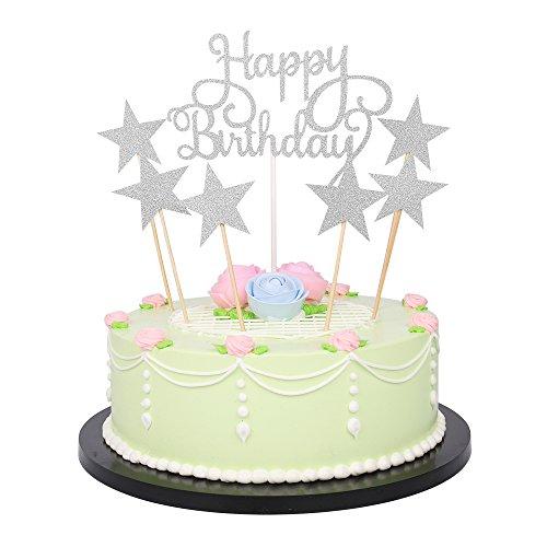 lxzs-bh 7Pack Glitter Buchstaben Happy Birthday Cake Topper Dekorationen (Silber)