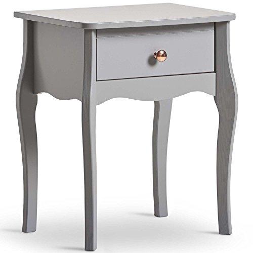 Beautify Nachttisch Grau 1 Schublade - Vintage-Stil mit roségoldenen Griffen – Beistelltisch für Schlafzimmer Wohnzimmer Aufbewahrungsmöbel