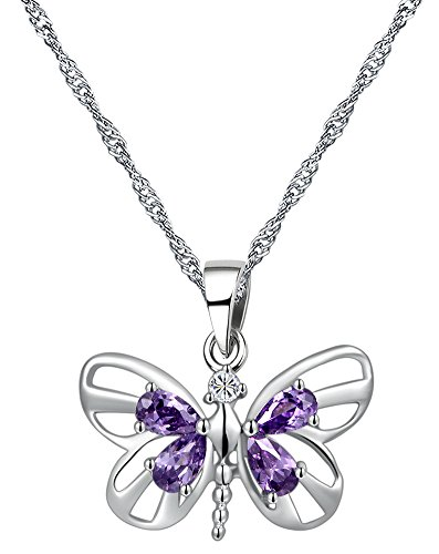 Sterling Silver Amethyst Butterfly Pendant Necklace 45CM - CN3782