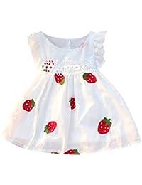 8f1732566 Zolimx Bebé Niña Fresa Verano Vestidos Sin Mangas Estampado Floral Bordado  Ropa ...