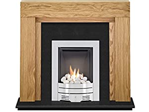 The Beaumont Oak & Black Granite with Crystal Diamond Contemporary Gas Fire Brushed Steel, 54 Inch