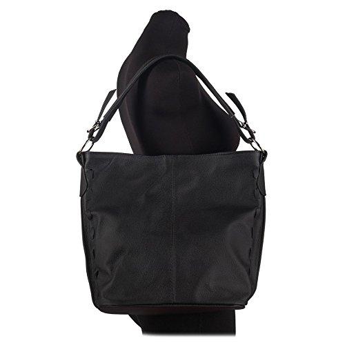 Grand sac à main en cuir véritable avec bandoulière amovible (marron) noir