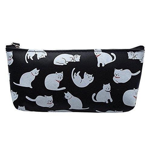 Laat - Estuche escolar gatos, estuche para bolígrafos, bolsa de almacenamiento para cosméticos y suministros de oficina y papelería 3 x 8x 19,5cm negro