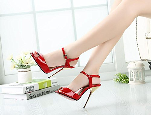 HeiSiMei Damen Sandalen / Komfort Leder / Stiletto Metall Ferse / Open toe Schuhe / Nachtclub / Party & Abend / Büro & Karriere / Pseudo-Mutter High Heels / Herren / Unisex RED-46