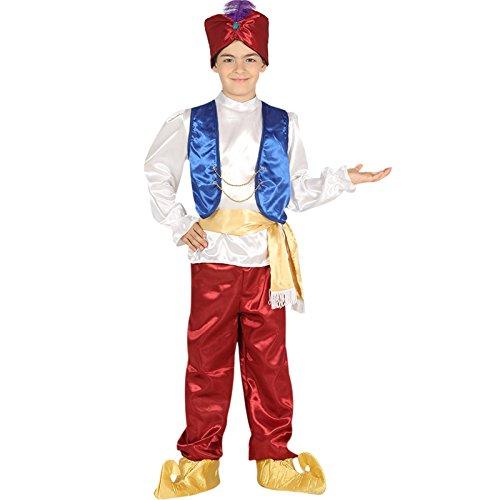 Kinder Aladdin Kostüm - Arabischer Wüsten Junge Dieb Wunderlampe Kostüm Karneval Fasching Orient Dschinn Gr. 110 - 146, Größe:110/116