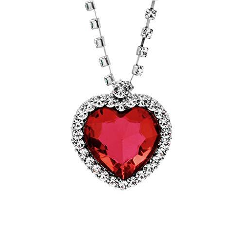 Loveso Liebe Herzen Halskette Kette Schmuck Kristall Strass Anhänger Halskette Elegante Halskette Modeschmuck für Damen