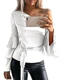 Siswong Camiseta Blusa Manga Larga de Volantes Blusa Playa Hombros  Descubiertos Elegante Tops Mujer Fiesta Noche ad490fc97a515