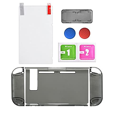 Protective Accessories Bundle,Screen Protector for Nintendo Switch Replacements Thumb Caps for Nintendo Switch Joy-con with Neon Blue /Neon Red(Clear Black Color)