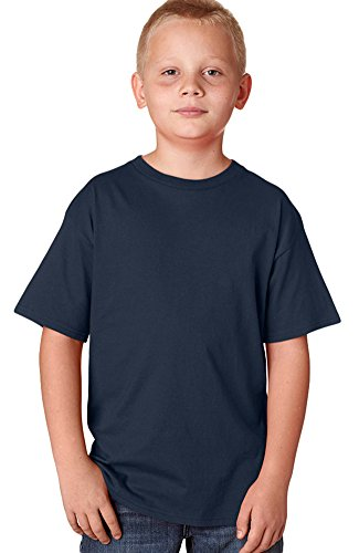 Hanes Youth Nano narrower Ribbed Collar T-Shirt Navy