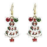 Daliuing Women Girls Earrings Hooks Christmas Themed Earrings Fashion Hollow Festival Eardrop Colorful Pendant Earrings for Xmas Gift