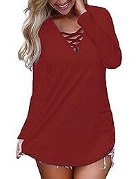 Mujer Blusa Camiseta Floral Impresión Vintage Bohemian Traje de otoño Calle y Playa,Sonnena Camisetas Tops Blusa con Estampado Floral de Manga Larga con Cuello en v para Mujer