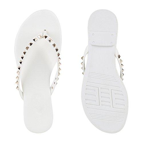 Damen Zehentrenner Beach Schuhe Lack Flats Sandalen Weiss Nieten