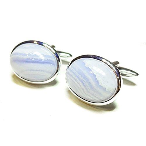 The Black Cat Jewellery Store Boutons De Manchette Semi-précieuses - Agate Bleue Lacet