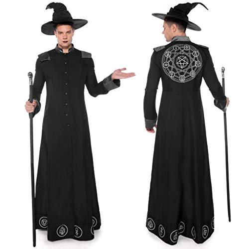 Cosplay Fantasy Gothic Kopfbügel Kostüm Retro Party Princess Renaissance Kleider Rock,Mann Halloween Cosplay Wizard mittelalterlichen Langarm Kostüm Spielen - Gir Cosplay Kostüm