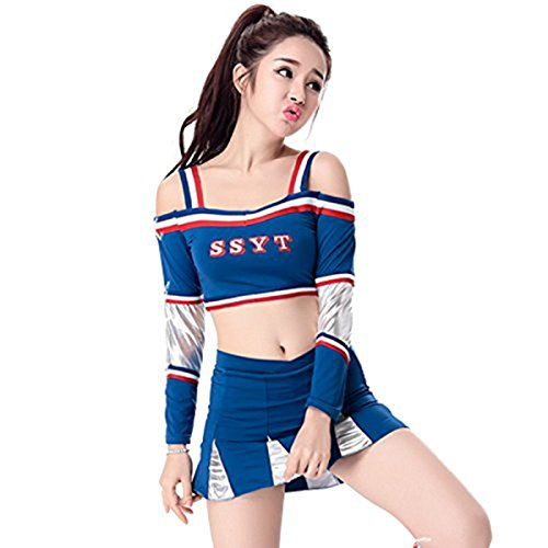 Babyicon Damen Cheerleader Kostüme Outfit Fußball Sport Verrücktes Kleid Uniform (M, (Cheerleader Uniformen)
