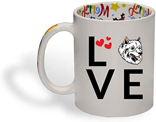 Ceramic Christmas Coffee Mug Love Hearts American Eskimo Dog Funny Tea Cup