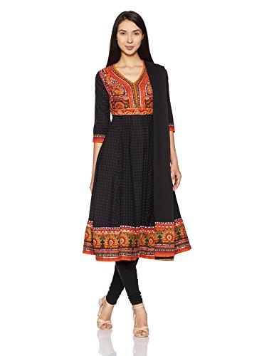 dee77b2aa BIBA Women s Anarkali Cotton Salwar Suit (SKD5304 BLK 38) - Gia Designer