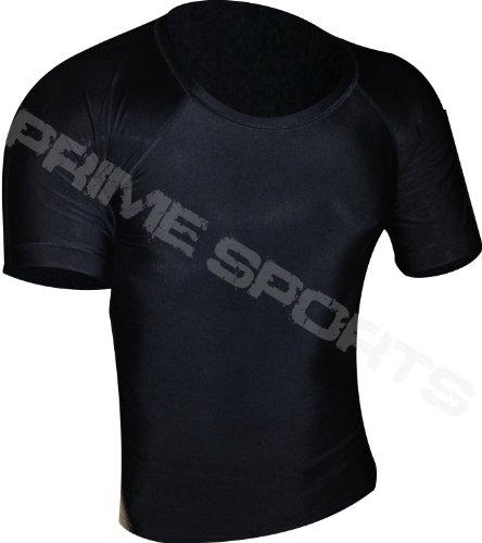 41gENPzEHeL - Prime Rash Guard Vest MMA Running Grappling UFC Top T Shirt Mens Boxing Black Half Sleeve Large