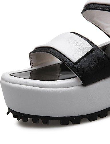 UWSZZ IL Sandali eleganti comfort Scarpe Donna-Sandali-Tempo libero / Casual / Serata e festa-Spuntate-Zeppa-Finta pelle-Nero / Argento Black